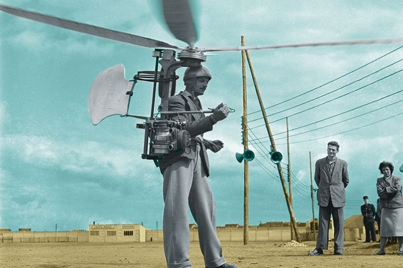 Man with helicopter blades on head