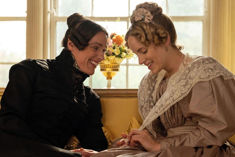 Suranne Jones as Anne Lister and Sophie Rundle as Ann Walker in Gentleman Jack, the BBC adaptation based on Lister's diaries