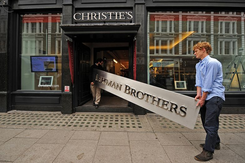 Lehman sign carried into Christies auction house