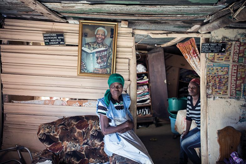woman with Mandela picture