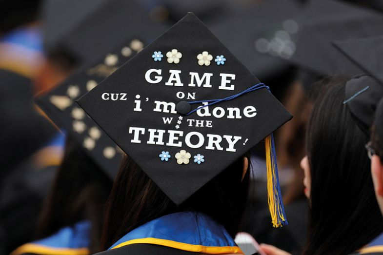 Graduation cap with message