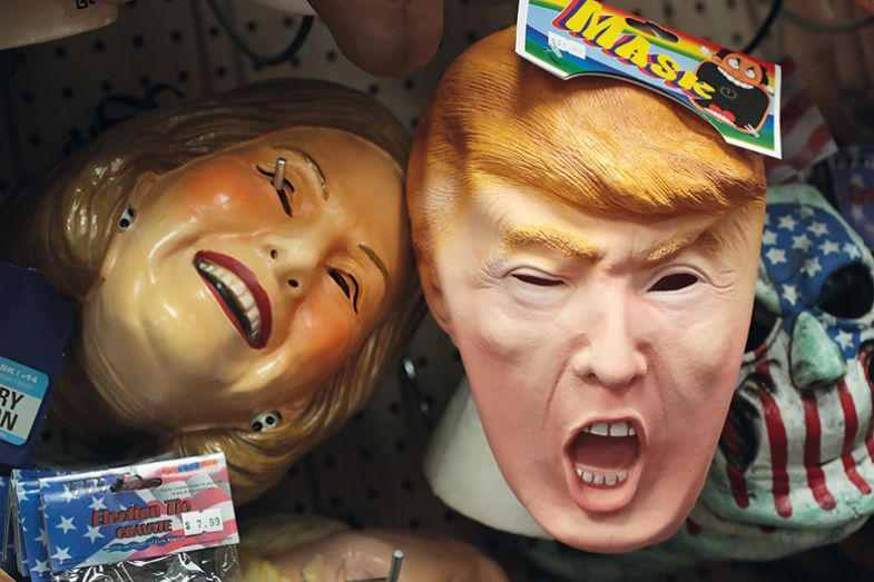 Donald Trump and Hillary Clinton masks