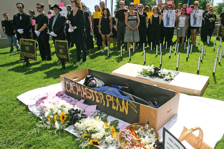 Protesters around a coffin with masterplan written on the side