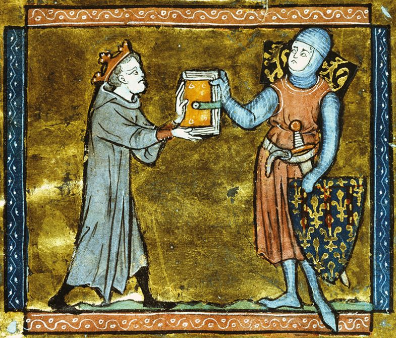 Adenes Le Roi presenting his book to the Count of Artois, miniature from a Latin manuscript, 13th Century