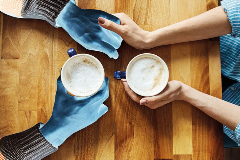 outline hands coffee
