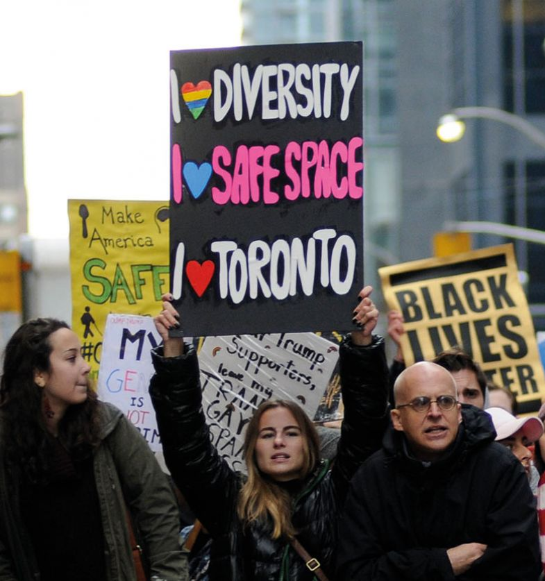 Protesters in front of Trump Tower in Toronto, Canada