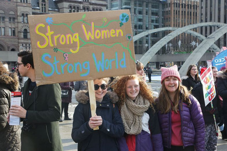 Women with placard