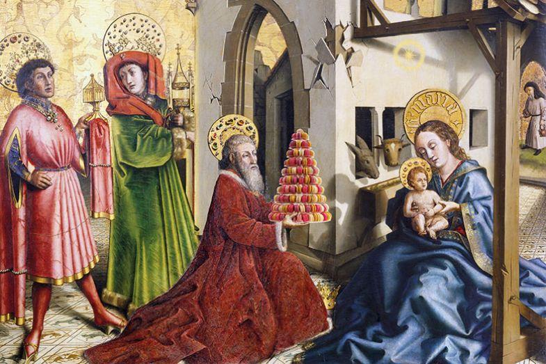 Nativity scene with macarons