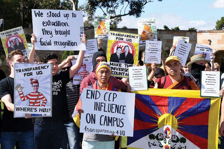 People protest against Chinese funding in Australian universities, Brisbane, Australia, 31 Jul 2019