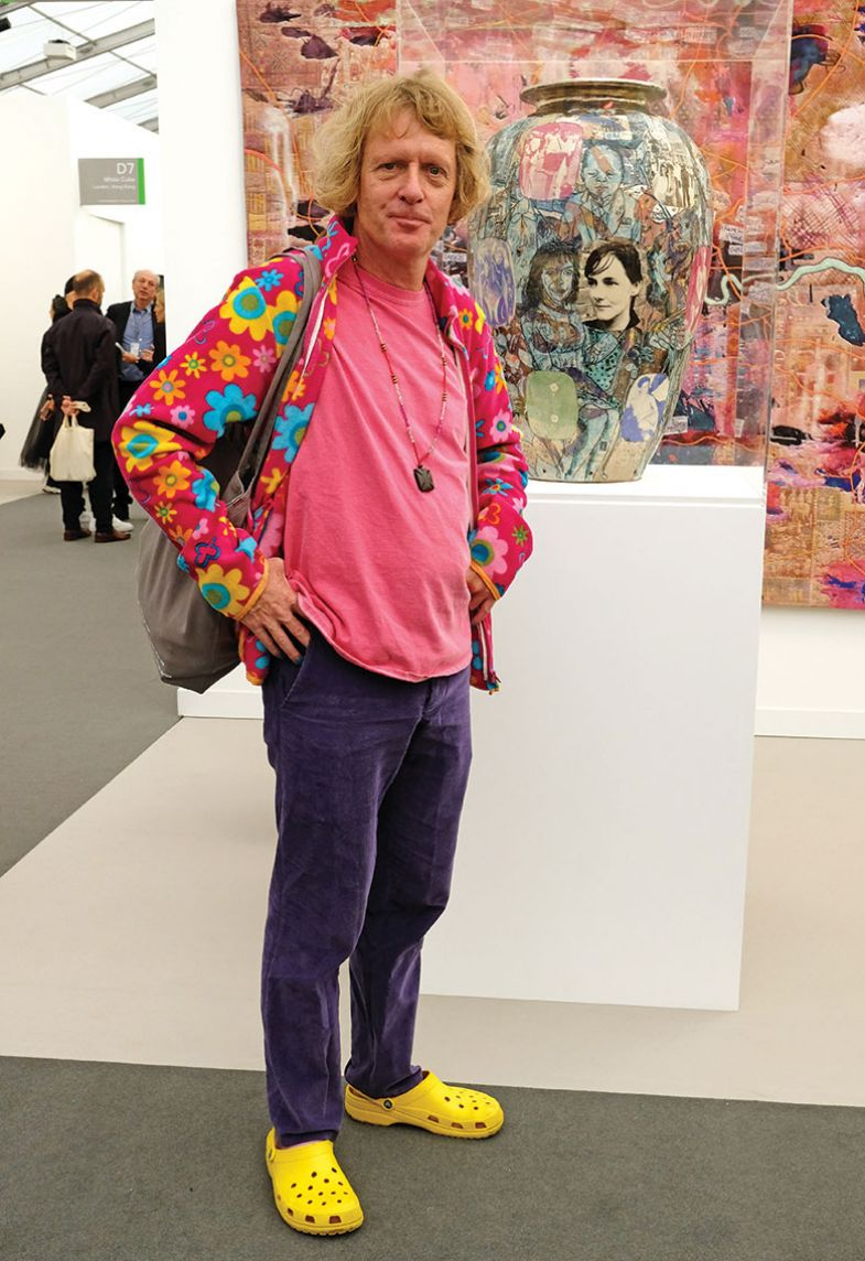 Grayson Perry attends the Frieze Art Fair VIP Preview in Regent's Park on October 2, 2019