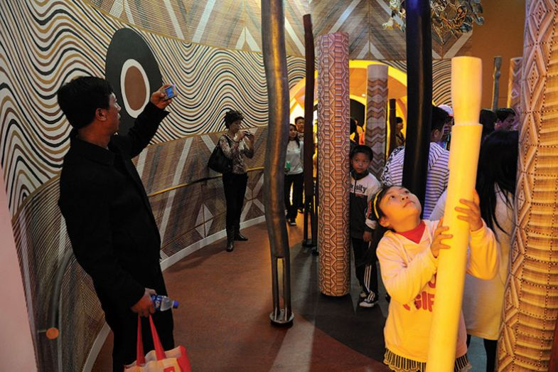 Chinese people visit the Aborigine exhibition in the Australian pavilion at the World Expo in Shanghai on May 01, 2010