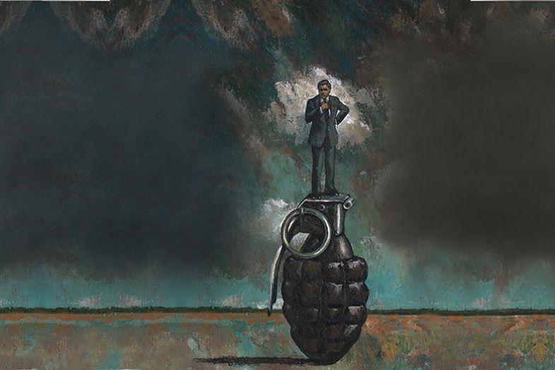 Illustration of man stood on hand grenade