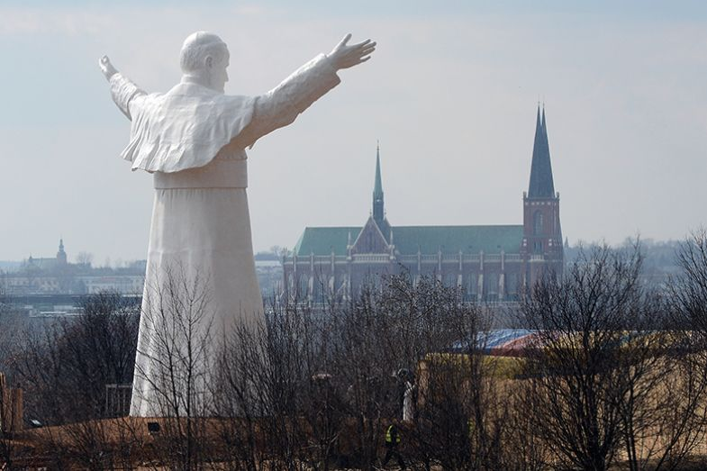World's tallest statue of late pope John Paul II, in the Polish city of Czestochowa
