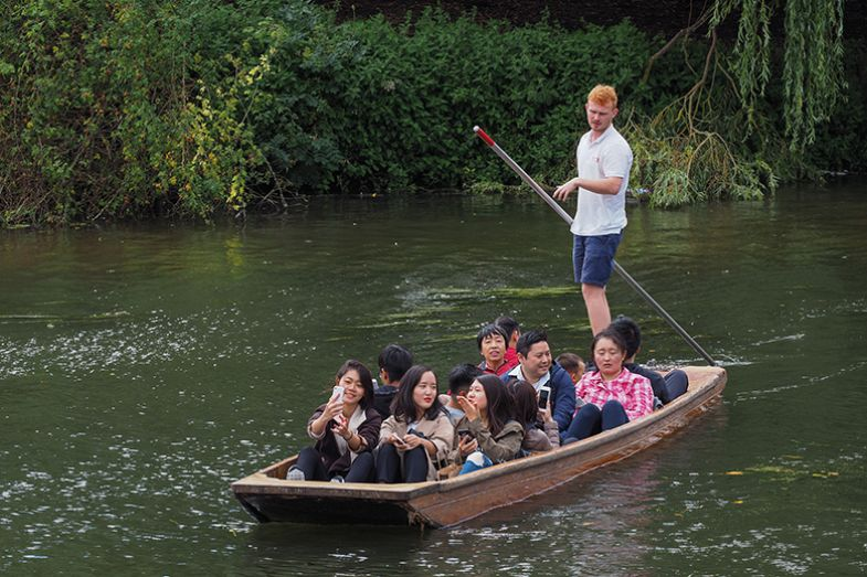 Young Chinese people punting