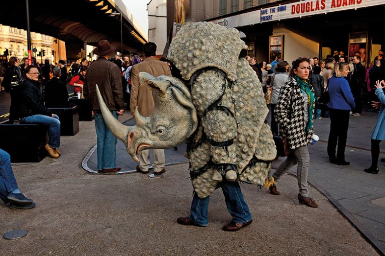 Man in rhino costume