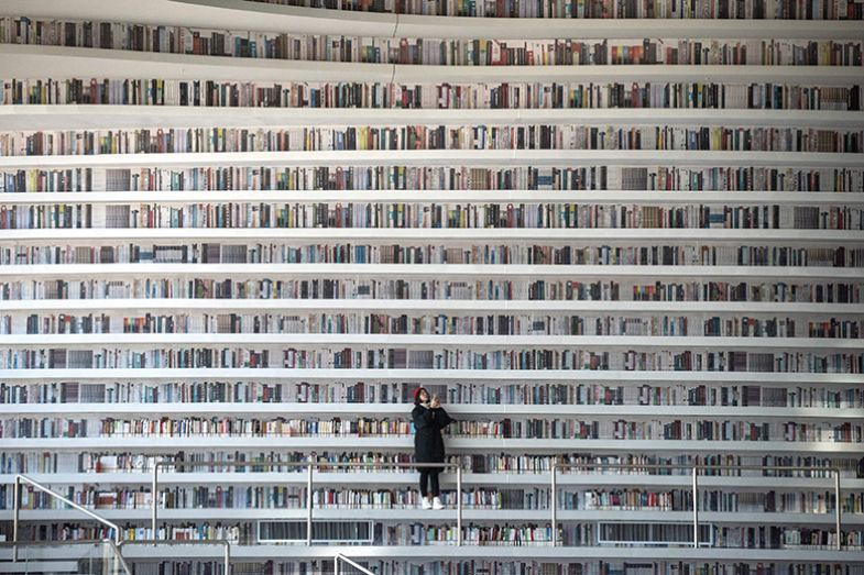 Many books on shelves