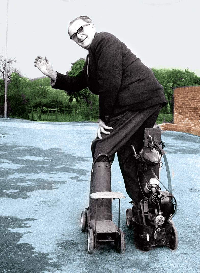 man with motorised skates