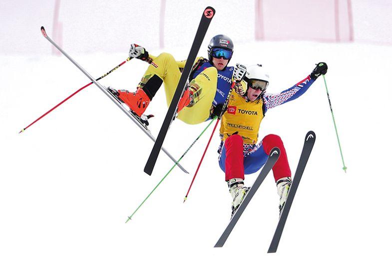 skiers jump