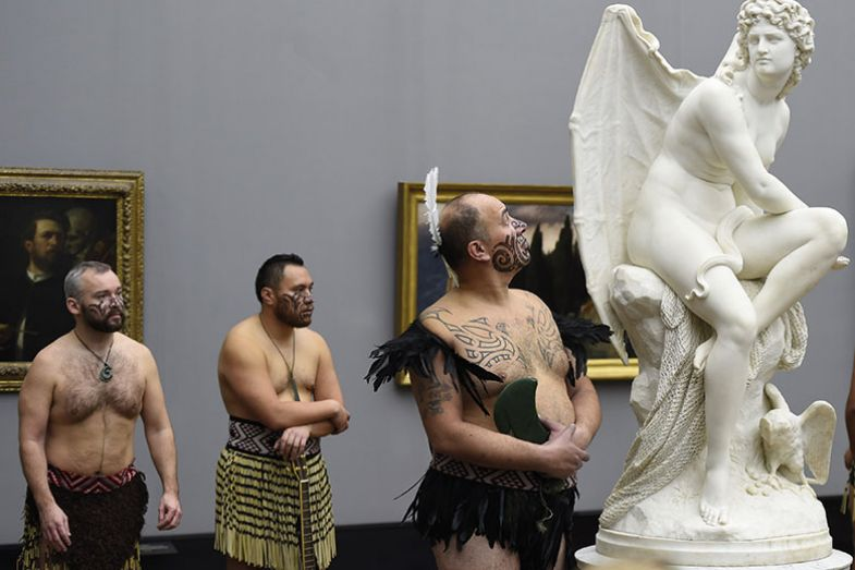 Cultural group Ngati Ranana attend an exhibition in Berlin of Gottfried Lindauer's Maori portraits