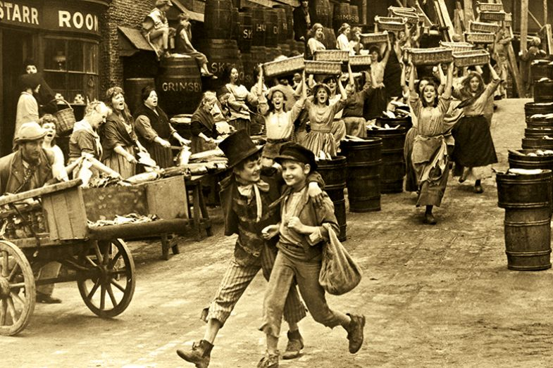 Artful Dodger and Oliver Twist on the streets of London