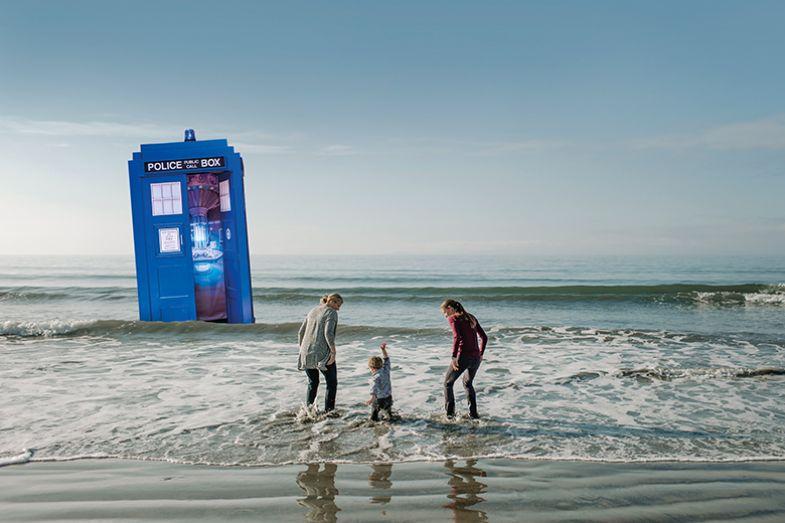 Family at beach near Tardis