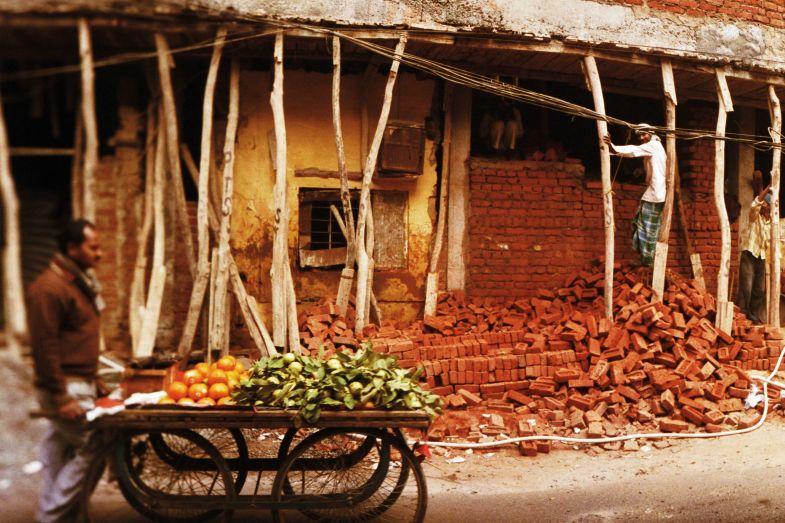 Building under construction in New Delhi, India