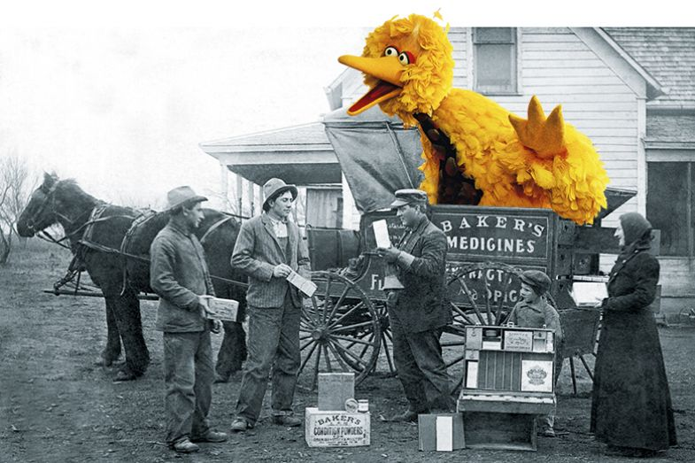 Montage of Big Bird from Sesame Street on horse and cart