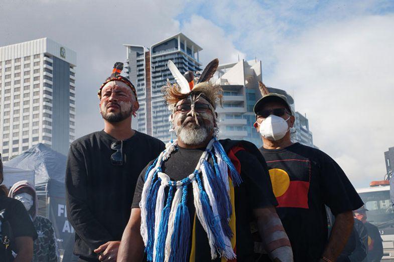 Aboriginal men at Black Lives Matter protest in Perth