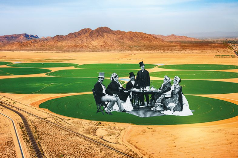 Montage of historical people having a picnic on irrigated sections of a desert
