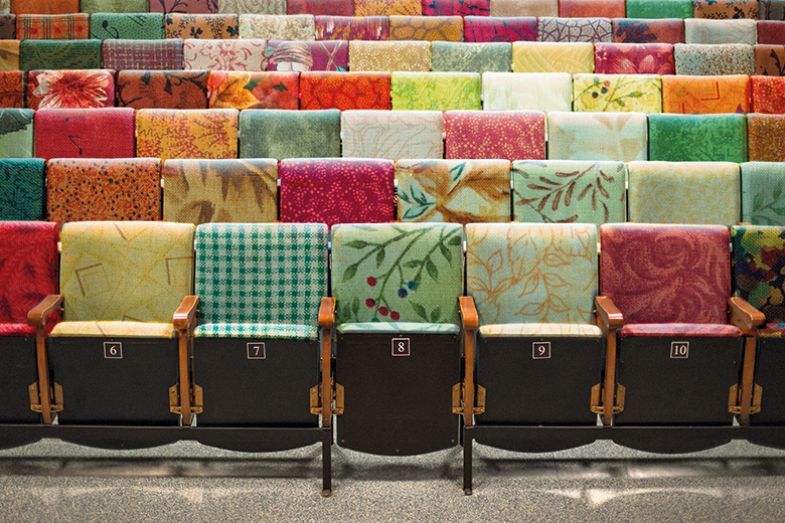 Patchwork lecture theatre chairs
