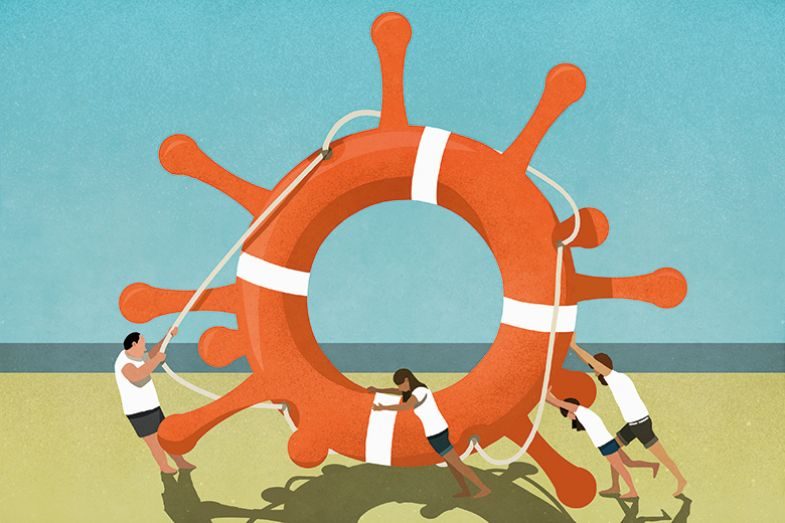 Illustration of people pushing a lifebelt shaped like a coronavirus on the beach
