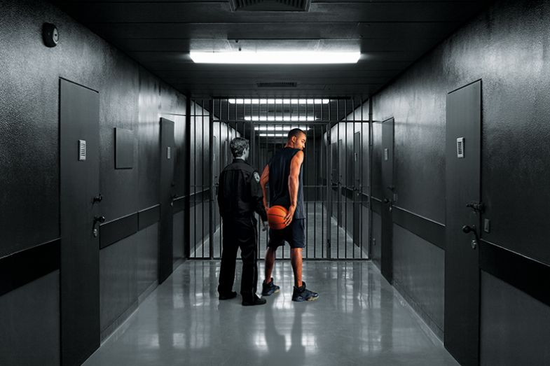 Montage of basketball player being led in to prison