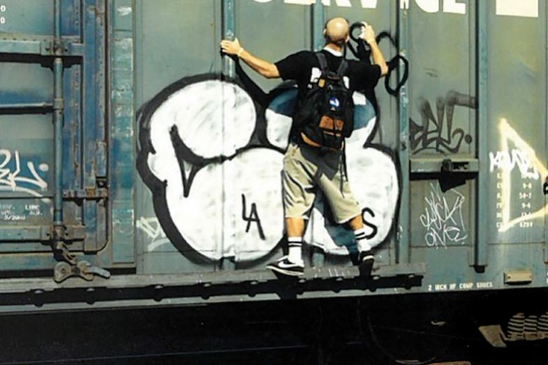 Stefano Bloch tagging a train in 1996, before his life as an academic