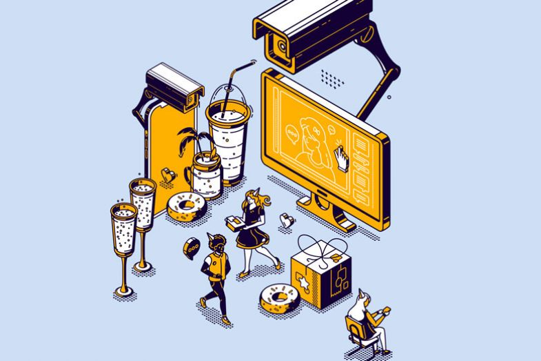 Illustration security camera with a screen and food and a few people