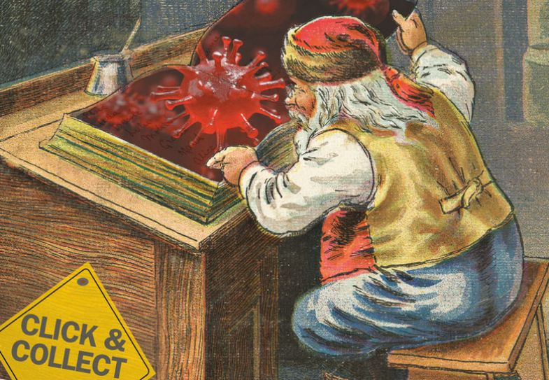 Santa reading a Coronavirus book with a sign reading 'Click & collect'
