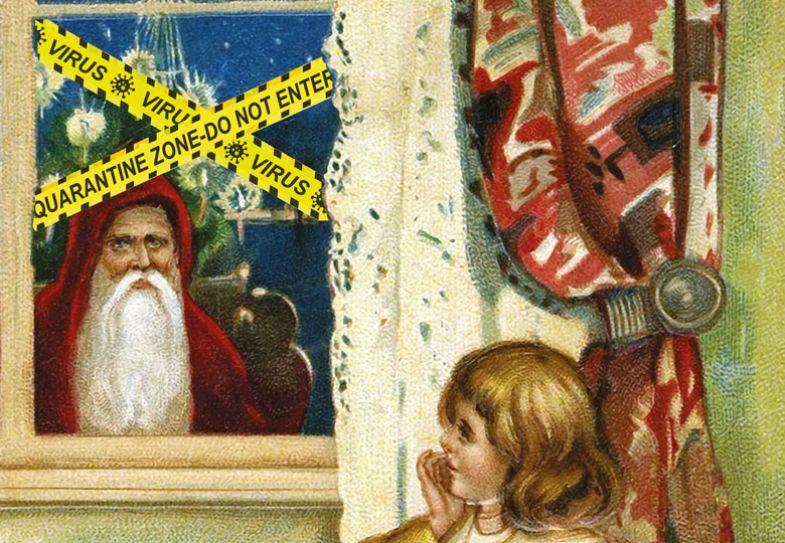 Santa looking through window with yellow tape over window reading 'Quarantinezone-do not enter'