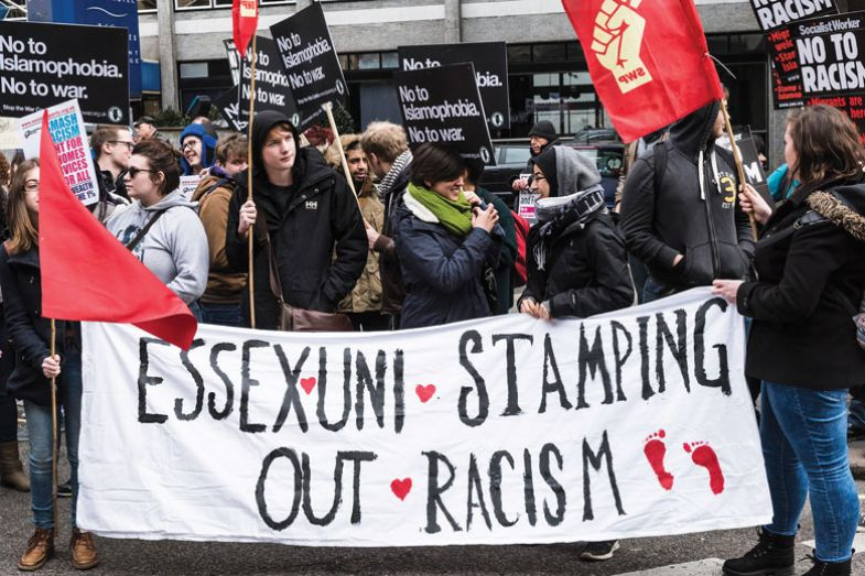 Students from Essex University joined demonstrators gathered in London to participate in the Stand Up To Racism demonstration
