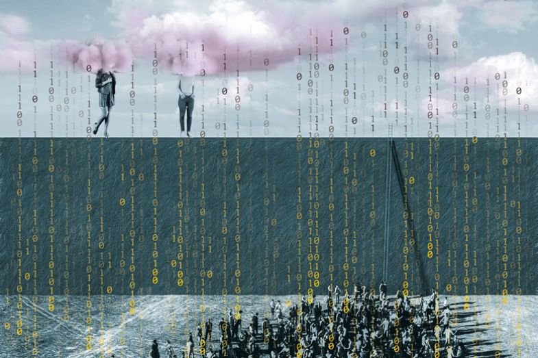Two people high up in pink clouds with a crowd below and showers of data