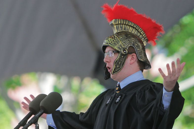 Student speaker and Latin orator Timothy Barry-Heffernan addresses the crowd at Harvard commencement in the Tercentenary Theatre of Harvard Yard