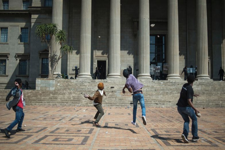 South African students and campus security guards clashed in Johannesburg
