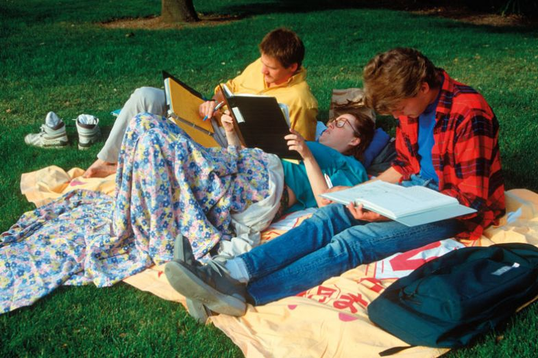 tudents studying on lawn with blankets as a metaphor for What gets measure d gets done
