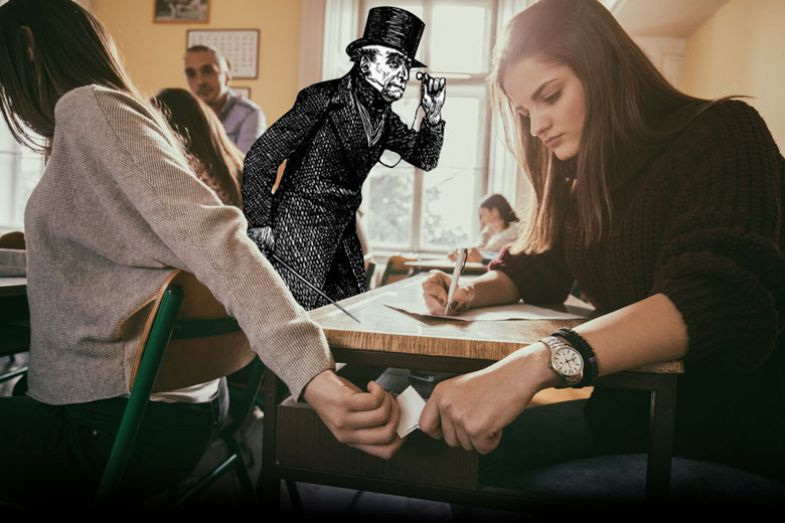 Teenage girls cheating during exam and passing paper note in the classroom. with a drawing of person in top hat looking as a metaphor for  Sympathy for Mr Gradgrind
