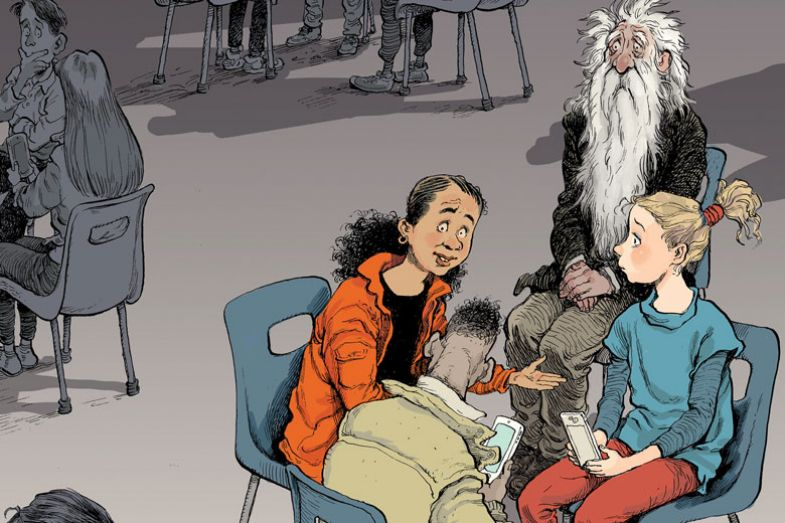Van Winkle sitting with students in a circle as described in the story