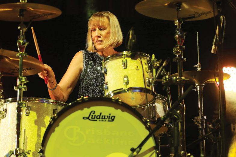 Lindy Morrison performs at Brisbane City Hall for the book My Rock 'n' Roll Friend