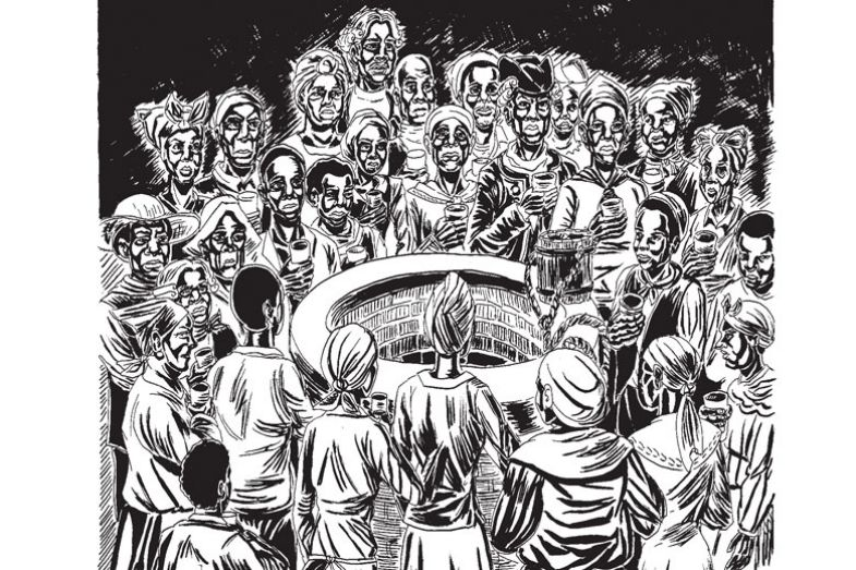 Illustration from Wake: The Hidden History of Women-Led Slave Revolts book of people at a well