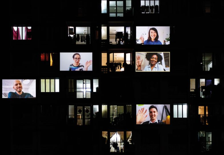 Zoom screen people waving along with outside of buildings