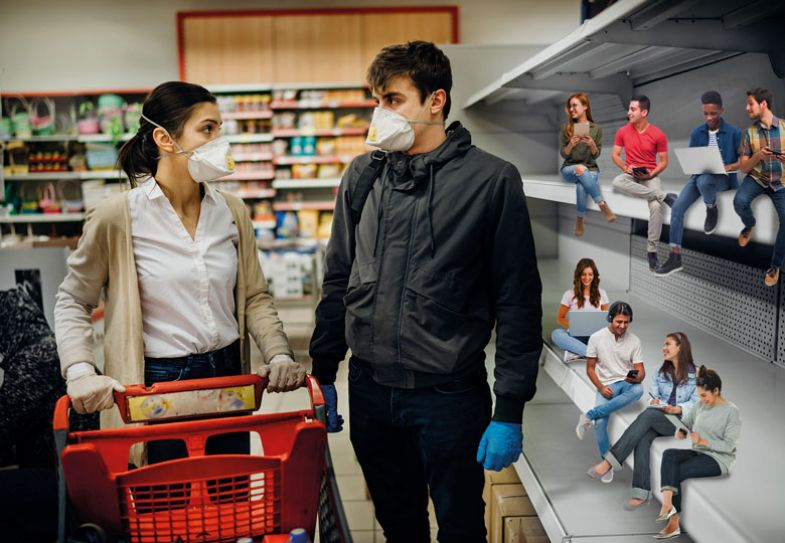 Couple wearing masks and gloves buying groceries/supplies in supermarket with sold out products.Food supplies shortage. People sitting on the shelves.