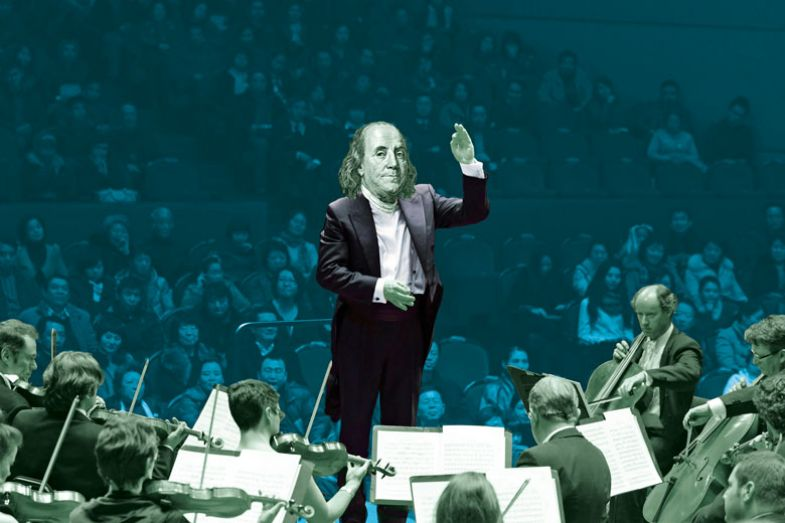 Montage of Benjamin Franklin as a conductor to an orchestra
