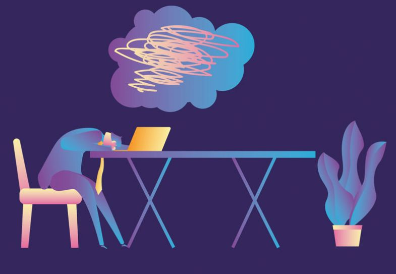 Illustration of exhausted person slumped over laptop on a table.