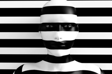 3D rendering of a womans face trying to blend in with the black and white striped background